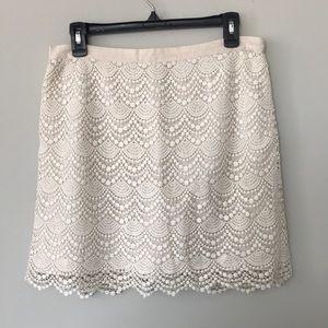 Club Monaco White Lace Skirt